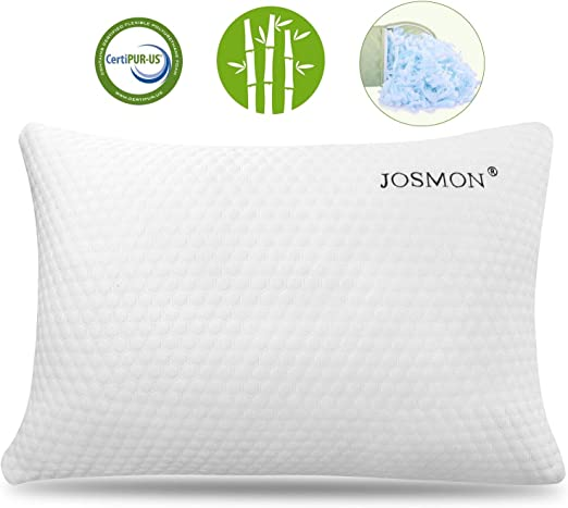 Memory Foam Pillow WITH Zipped Modal Cover for Back Stomach Side Sleepers