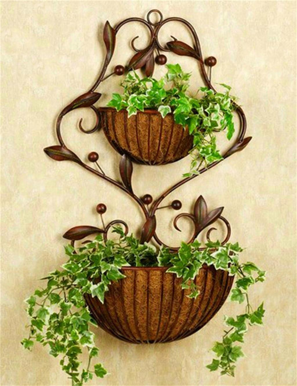 HZA European - Style Garten Eisen Blumentopf Regal, Wandhänge Töpfe Regal, Indoor Wohnzimmer Blumenregal, Wände Hängende Orchidee Korb, Ecke Inhaber Shelf Hochwertige Materialien ( farbe : Bronze )