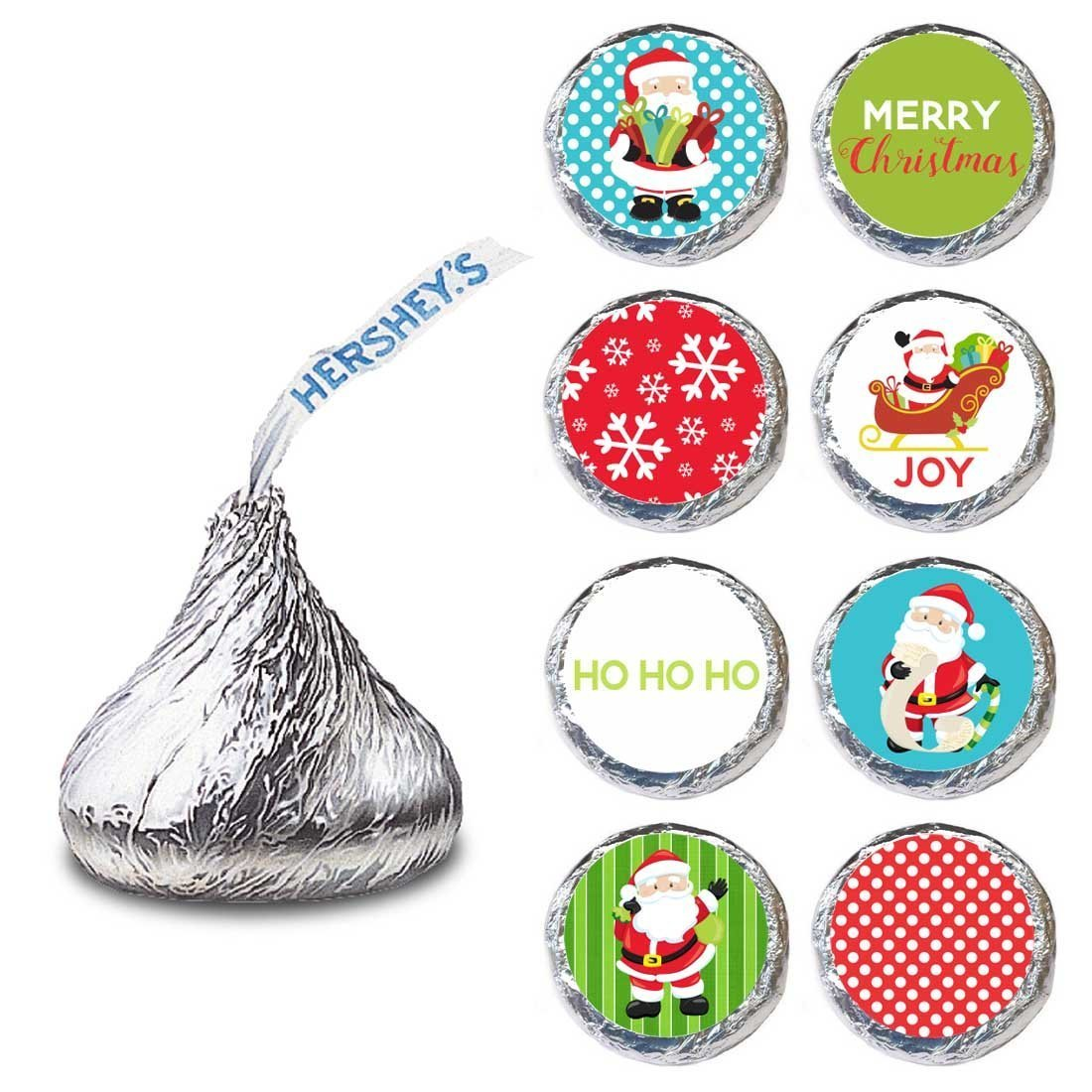 Santa Claus Label for HERSHEY'S KISSES® chocolates - Christmas Party Candy Stickers - Set of 240