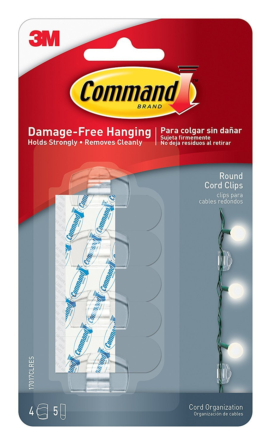 Command Round Cord Clips WLFKW, Clear, 24-Clip