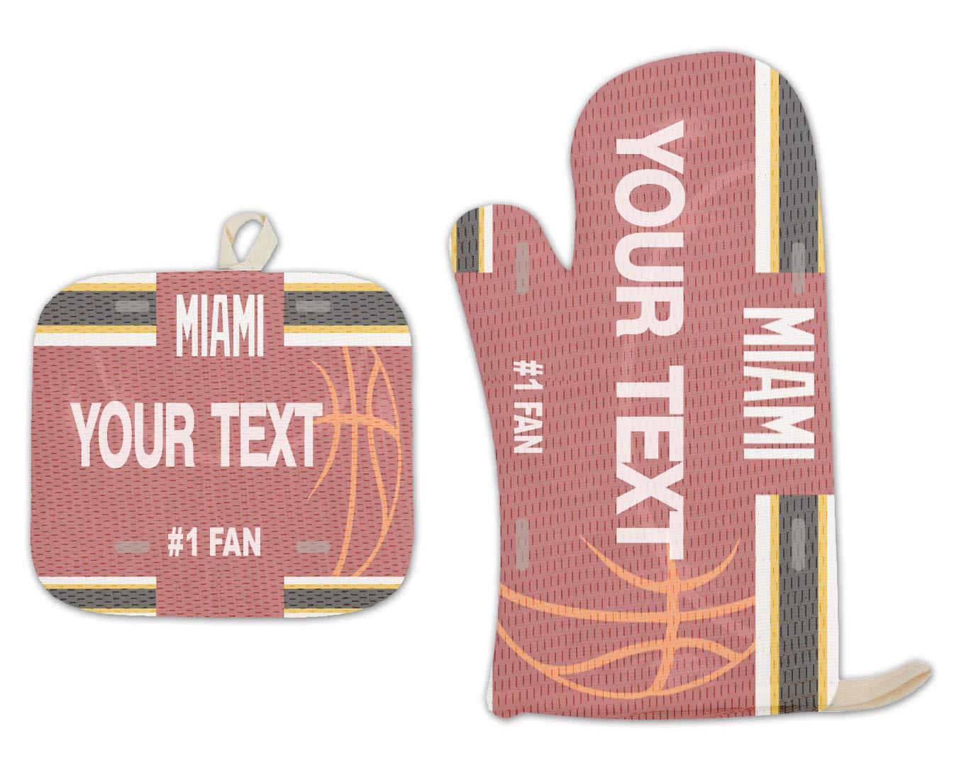 Bleu Reign BRGiftShop Personalized Custom Name Basketball Team Miami Linen Oven Mitt and Potholder Set