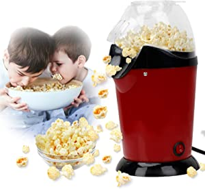 Popcorn Maker Machine Oil Free 1200W Electric Popcorn Popper Maker Non Stick Home Use Quick-Heat Hot Air Popcorn Maker with Measuring Cup and 12 pcs Popcorn Paper,BPA-Free for Movie Night Party
