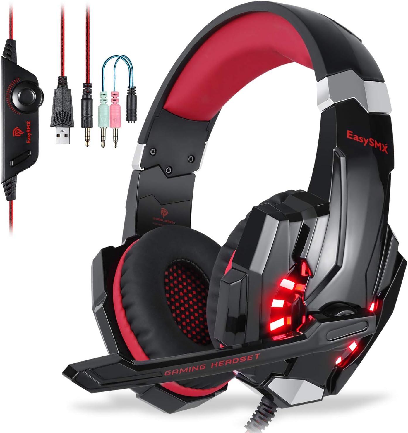 EasySMX Auriculares estéreo con cable y micrófono, luz LED, volumen en línea y control de silencio para nueva Xbox One, PC, Mac, computadora portátil, teléfono inteligente y PS4 3.5mm Negro y Rojo