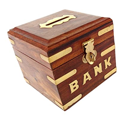 Amazon Com Rastogi Handicrafts Wooden Box Piggy Bank Small For Boys