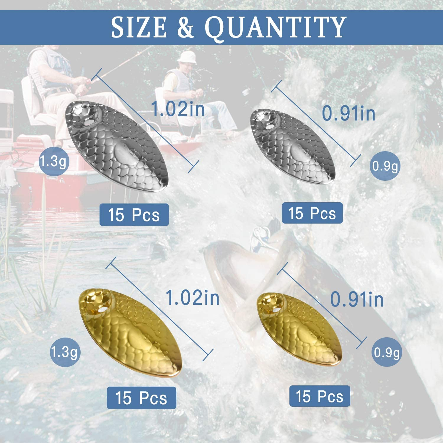 2 Size Fishing Spoons Rigs Spinner Blades Baits DIY Acceessoires for Hard Lures Worm Spinner Baits Spoons Rigs Making Akamino 60 Pcs Gold and Sliver Fishing Lures Making Kit