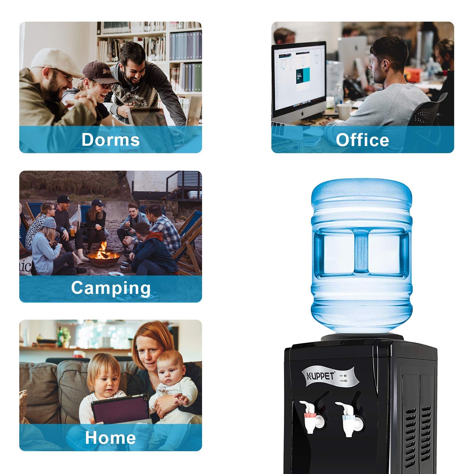 KUPPET Water Cooler Dispenser-Top Loading Freestanding Water Dispenser with Storage Cabinet, 5 Gallon, Two Temperature Settings-Hot(185℉-203℉), Normal Temperature(50℉-59℉), BLACK(32'', Black) by KUPPET (Image #5)