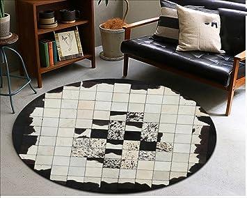 Amazon.de: Geometrie Runde Kuhfell Teppich Schlafzimmer Nachttisch ...