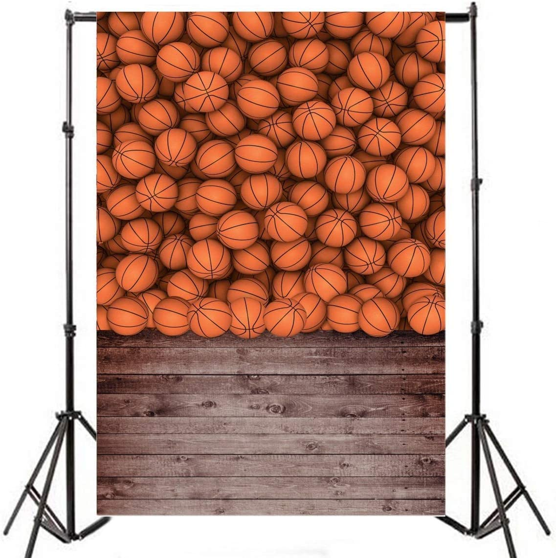 CdHBH 10x12ft Brown Wood Floor and Basketball Style Portrait Clothing Photo Photography Background Cloth Photo Studio Photography Photo Photography Props Wallpaper Home Decoration