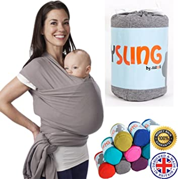 4ad2ba19559 Premium Soft Lovely Cuddly Baby Wrap Sling   Newborn Carrier   Most Popular  Baby Shower Gift (Grey)  Amazon.co.uk  Baby