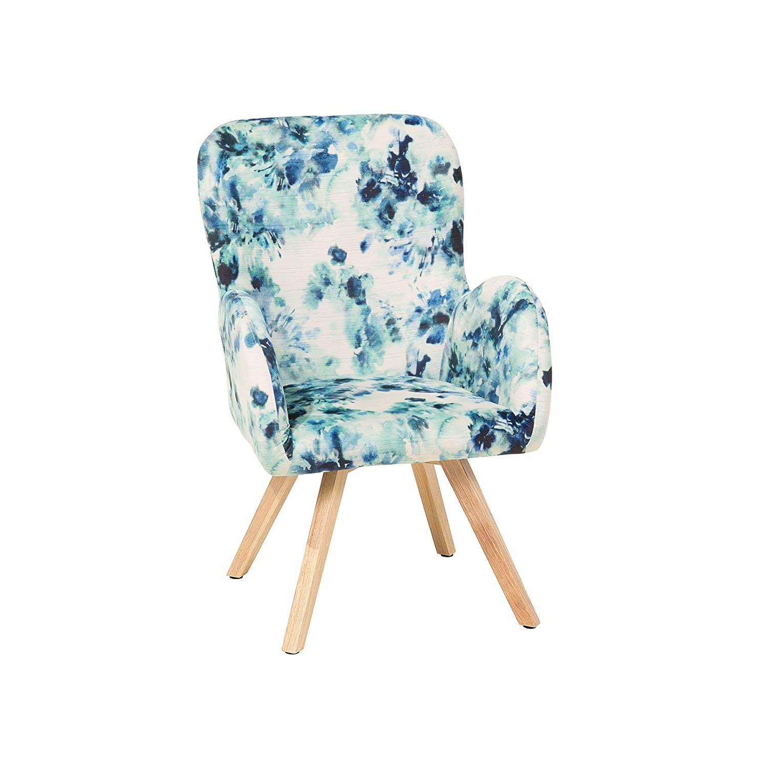 Retro modern fabric chair low back wooden legs living room floral pattern bjarn beliani amazon co uk kitchen home