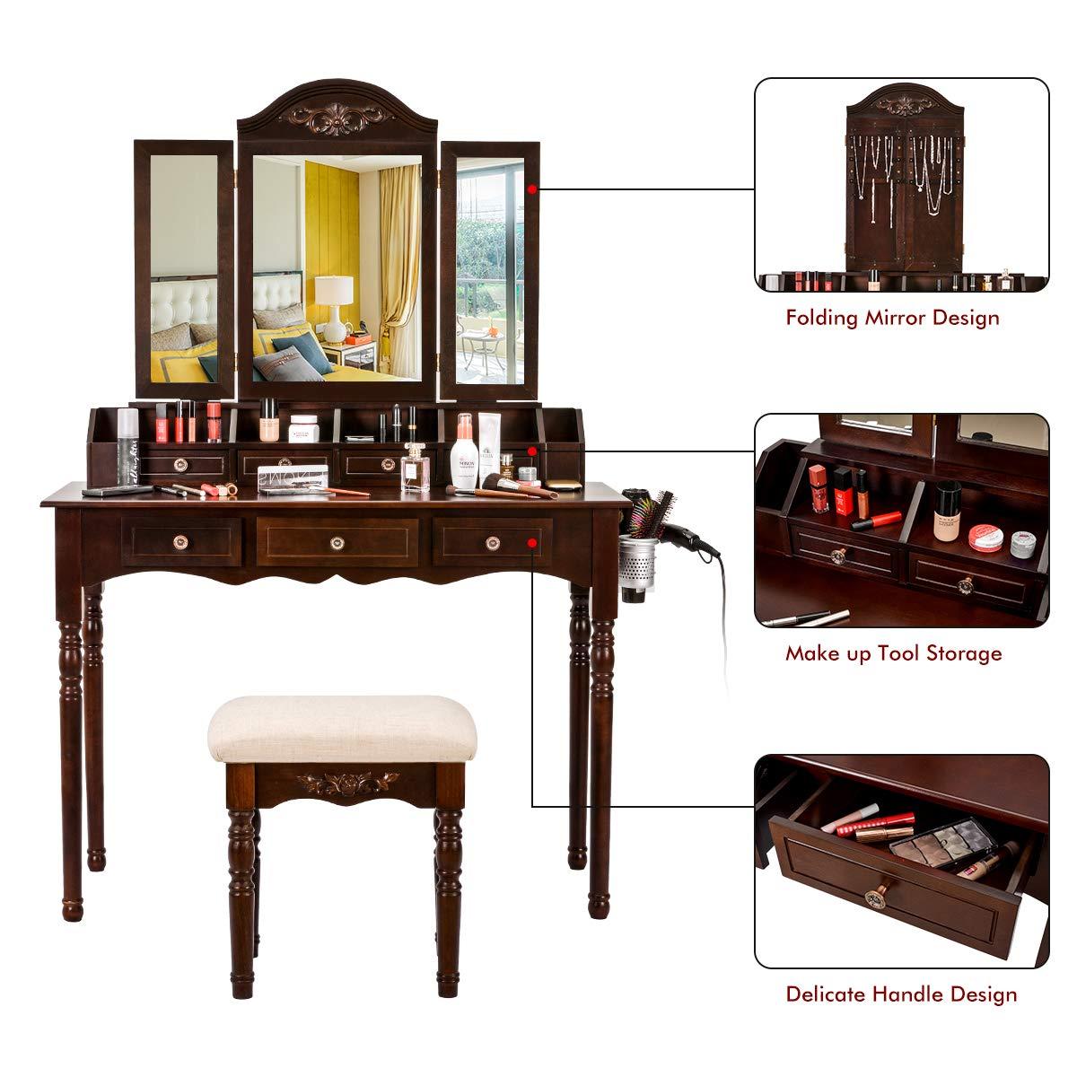 Superb Vanity Table Set Vanity Desk Dressing Makeup Table Tri Folding Mirror Cushioned Stool 7 Drawers Desk Organizer Brown Interior Design Ideas Skatsoteloinfo