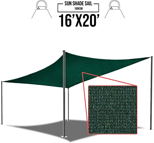 E K Sunrise 16 x 20 Green Sun Shade Sail Square Canopy – Permeable UV Block Fabric Durable Patio Outdoor Set of 1