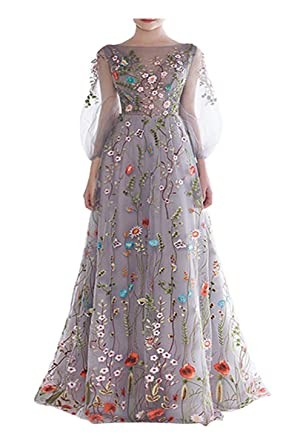 BRLMALL Womens Floral Long Sleeves Evening Dresses 2017 Spring/Summer