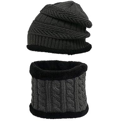 12d45506b383f SWAMPLAND Wintermütze Warm Beanie Mütze Set Dicke Strickmütze mit Schal  Gefütterte Skimütze Winter Hat mit Fleecefutter
