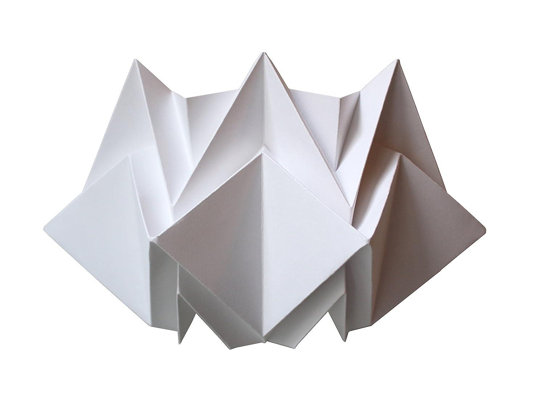 Lá mpara de pared en origami en papel blanco