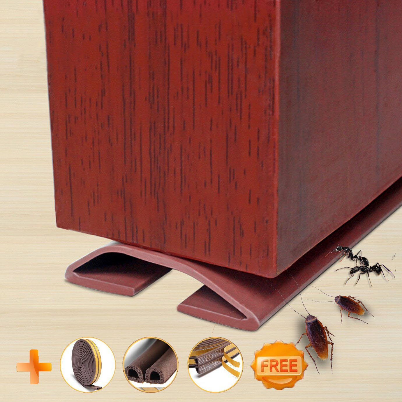 Under Door Draft Blocker Draught Excluder Self-adhesive Rubber Door Bottom Seal Strip Under Door Sweep Weather Stripping Door Gap Stopper Soundproofing Noise Insulation 39'' Long (Brown)