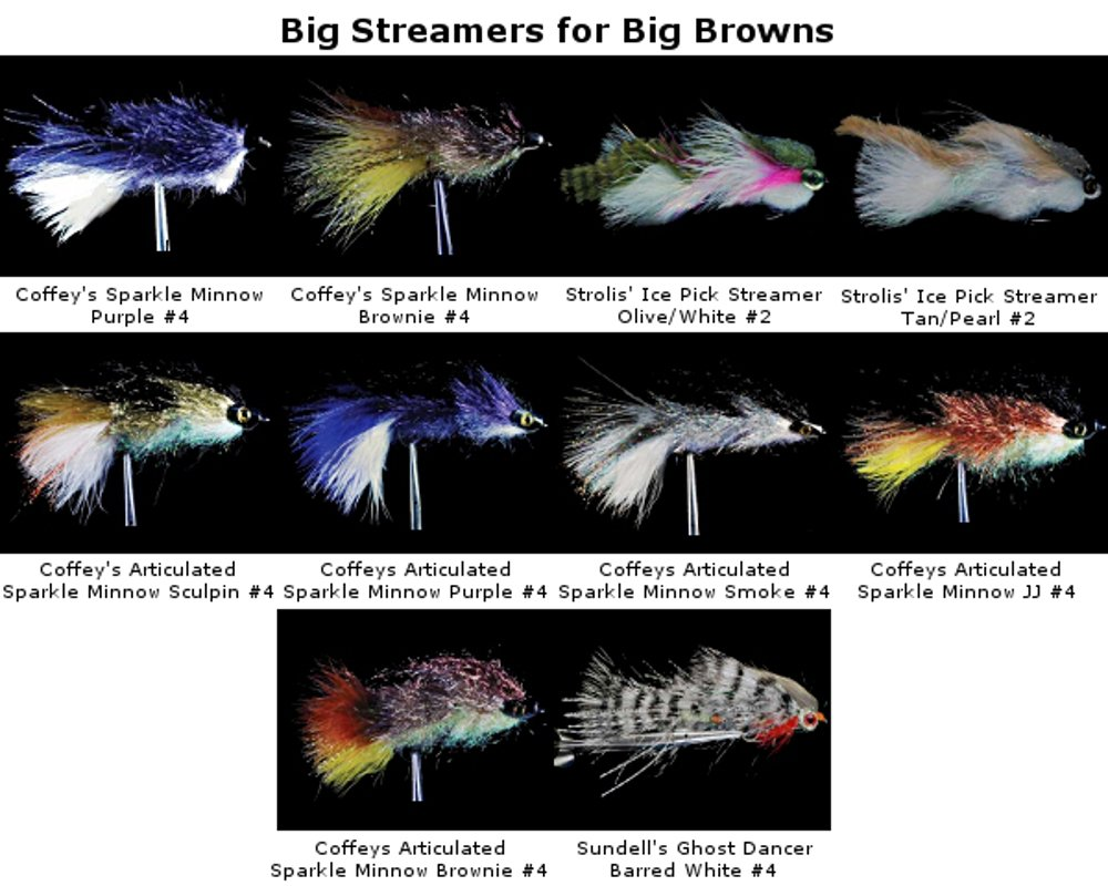 10 Premium Big Streamers for Big Browns by MFC Streamers