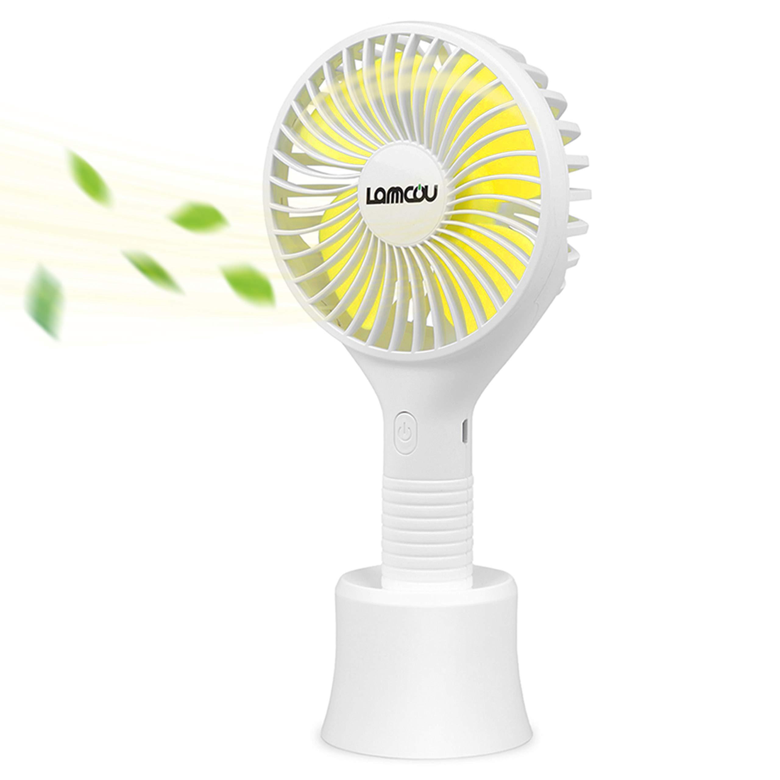 Lammcou Handventilator, USB Mini Ventilator Leise Mini Handheld Ventilator Tragbare Lüfter Praktische und Aufladebare Mini Fan für Outdoor, Büro und Unterwegs-Weiß