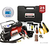 Blikzone Portable Air Compressor/Inflator Kit with Digital LCD Display, Auto shut-off, 12V, 120 PSI, 25 LPM with Hard Plastic Case - Include Tire Repair Kit for Cars and Trucks