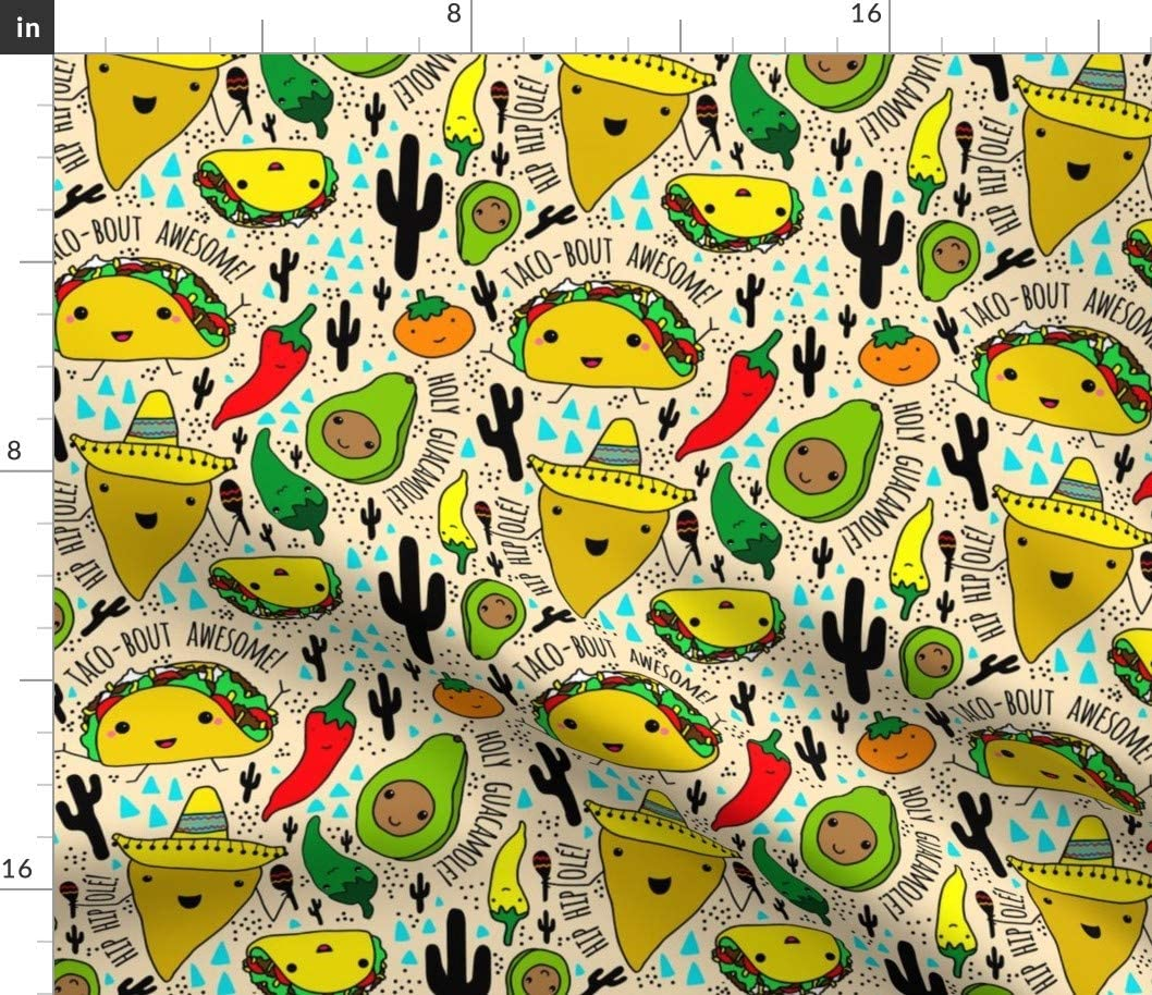 Spoonflower Fabric - Kawaii Fiesta Kids Baby Nursery Cactus Taco Food Mexican Party Avocado Printed on Cotton Poplin Fabric by The Yard - Sewing Shirting Quilting Dresses Apparel Crafts