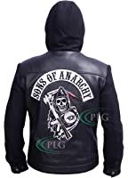 Sons of Anarchy Black Hooded Leather Highway Jacket
