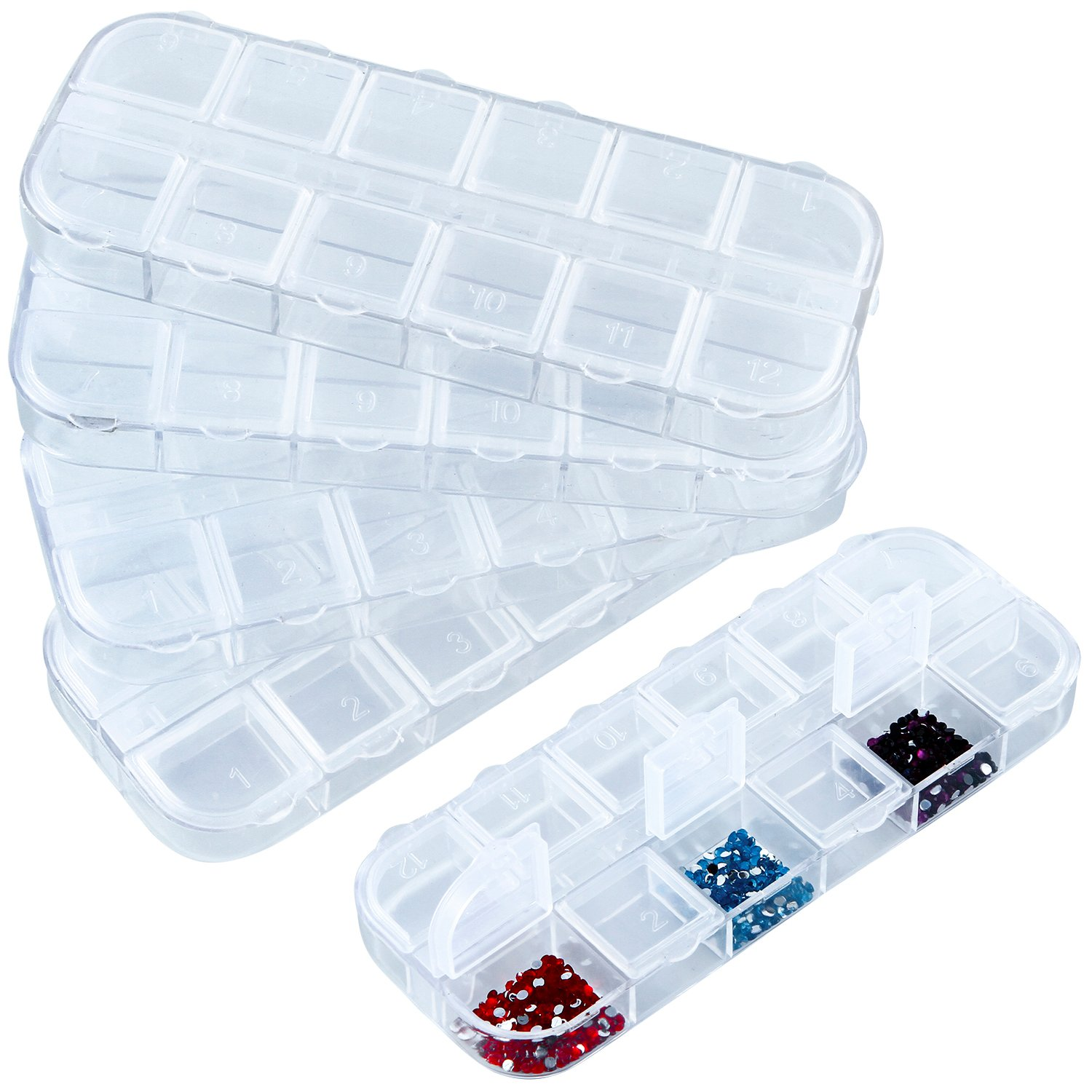 Aneco 6 Pieces 12 Grids Diamond Painting Embroidery Box Jewelry Storage Boxes Diamond Painting Accessories for DIY Craft 4336934973