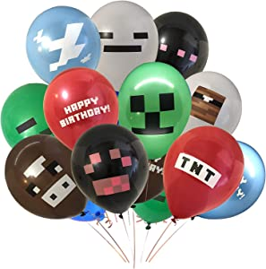 """24 Pack Pixel Miner Crafting Style Gamer Birthday Party Balloons, Double Sided 12"""" Latex Balloons - Gamer Birthday Party Supplies,TNT, Cow, Ghost, Cloud, Creepah, Spider Party Decorations"""