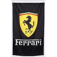 WHGJ Car Flag 3x5 ft for Black Ferrari Racing Car Garage Decor Banner