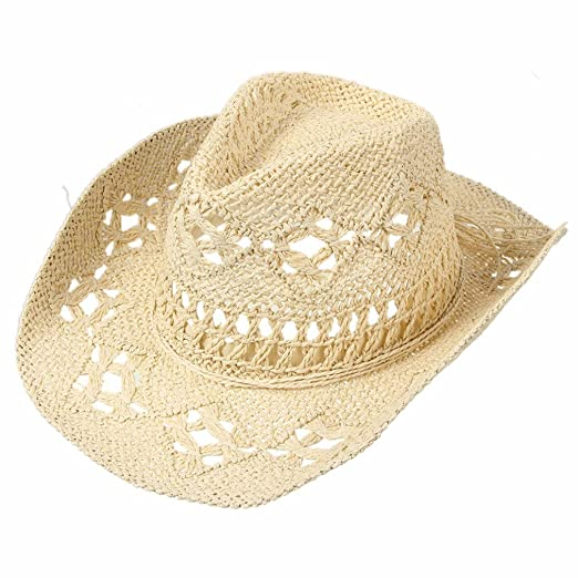 40c9d983e Summer Hats for Women, Solid Straw Hat Hollow Out Cowboy Caps, Beach Sun Hat