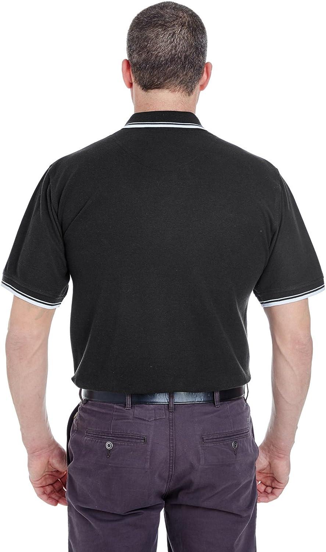 Black Heather Ultraclub 8540 Mens Whisper Pique Blend Polo 4XL
