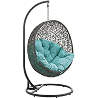 LexMod EEI-2273-GRY-TRQ Hide Outdoor Patio Swing Chair, Gray Turquoise