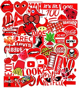 50 Pcs Street Fashion Sticker Decals for Laptops Cars Water Bottle Luggages Ipad Street Doodle Sticker Set Waterproof Sticker (Red)