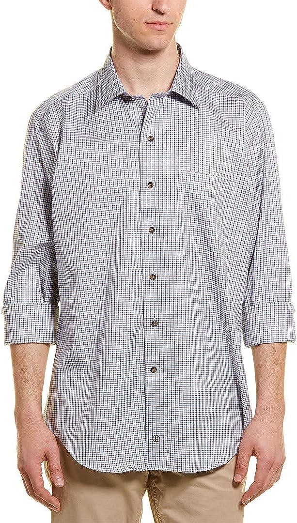 David Donahue Mens Woven Jaspe Spread Collar Sport Shirt