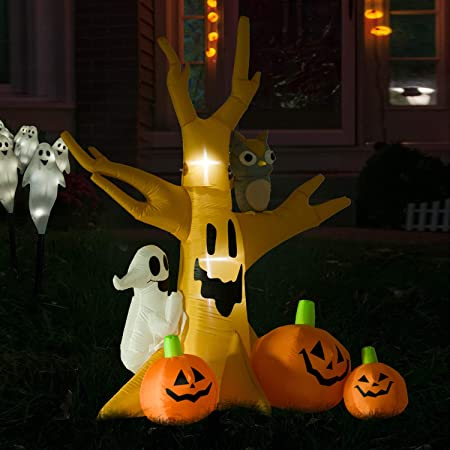 homcom 240cm large halloween scary lighting inflatable tree ghost 3