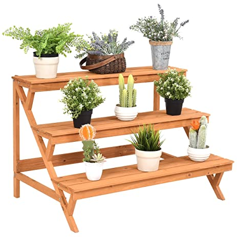 New Yellow 3 Tier Wood Plant Stand Flower Pot Holder Shelf Display Rack  Stand Step Ladder