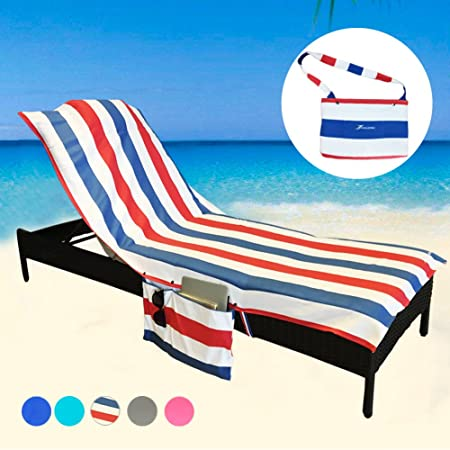 Beach Lounge Chair Cover Towel For Holiday Garden Lounge With Large Pockets FU