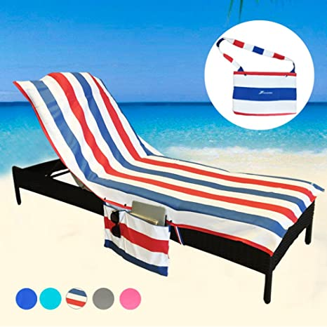 24acb4614c78 Amazon.com : YOULERBU Beach Chair Cover Towel with Pillow, Pool Lounge  Chaise Towel Cover with Detachable Side Pockets Holidays Sunbathing Quick  Drying ...