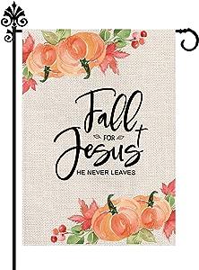 Fall Jesus Pumpkin Garden Flag He Never Leaves Burlap Autumn Harvest Vertical Double Sided Outdoor Decorations Seasonal Yard Decor 12.5 x 18 Inch