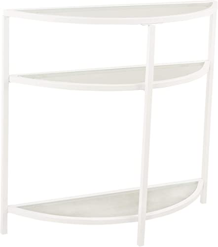 Spatial Order Half-Moon Modern Metal and Glass Accent Table, White