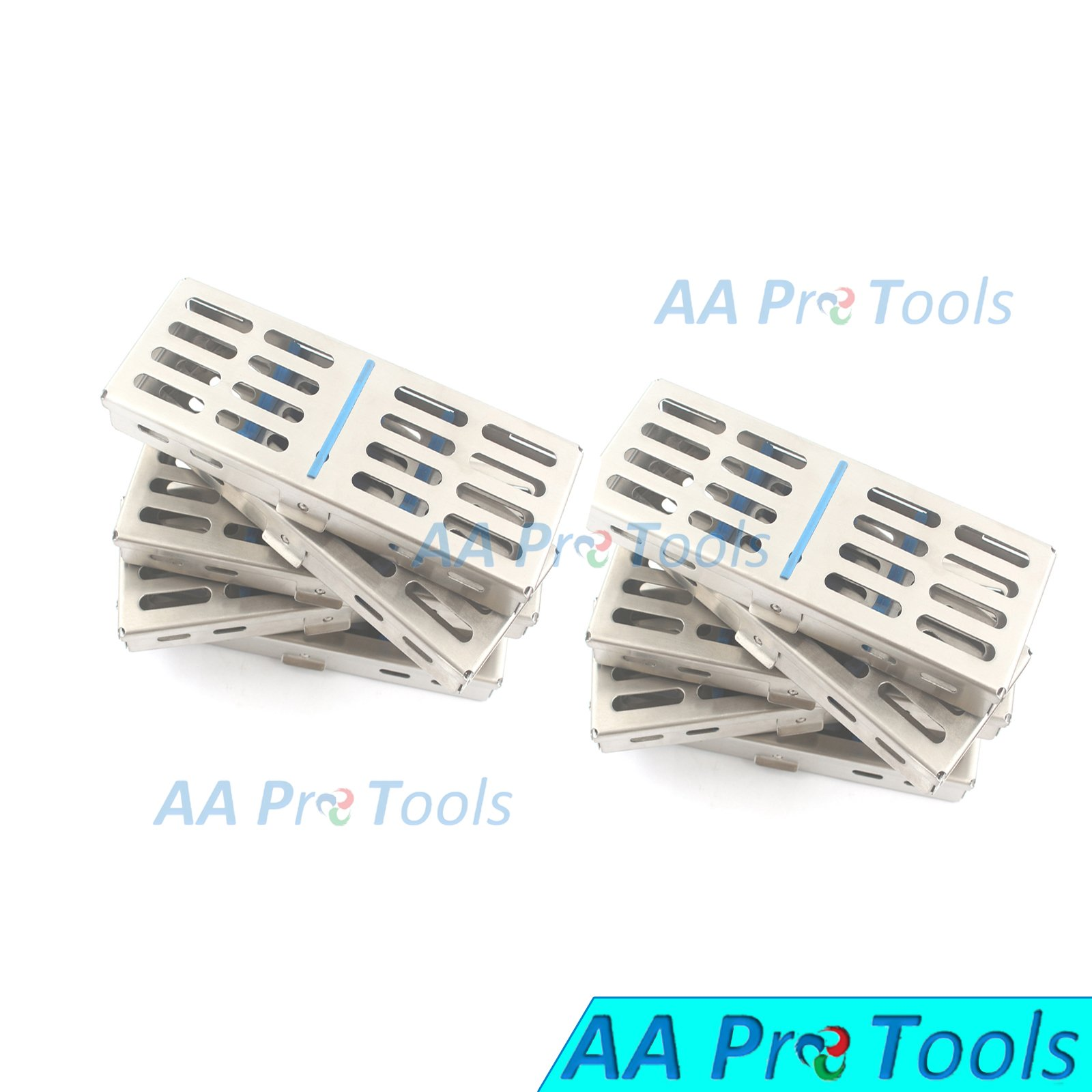 AA PRO NEW SET OF 10 EACH GERMAN GRADE DENTAL AUTOCLAVE STERILIZATION CASSETTE RACK BOX TRAY FOR 5 INSTRUMENT A+ QUALITY