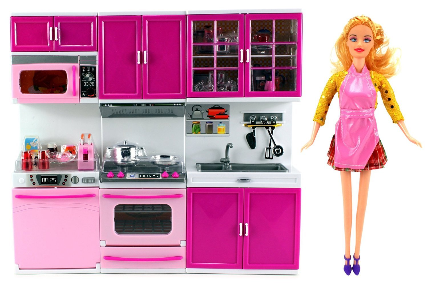 hasta un 65% de descuento My Happy Kitchen Kitchen Kitchen Dishwasher Oven Sink Battery Operated Toy Doll Kitchen Playset w/ Doll, Lights, Sounds, Perfect for Use with 11-12 Tall Dolls by Velocity Toys  60% de descuento
