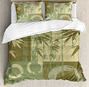 Ambesonne Bamboo Duvet Cover Set, Circle and Bamboo Silhouette Over Vintage Color Oriental Eastern Patchwork Art Print, Decorative 3 Piece Bedding Set with 2 Pillow Shams, Queen Size, Green Khaki