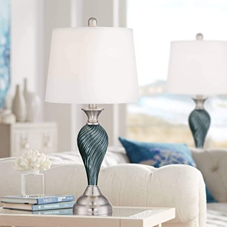 Arden Modern Table Lamps Set of 2 Green Blue Glass Twist Column Steel Base  Empire Shade for Living Room Family Bedroom - Regency Hill