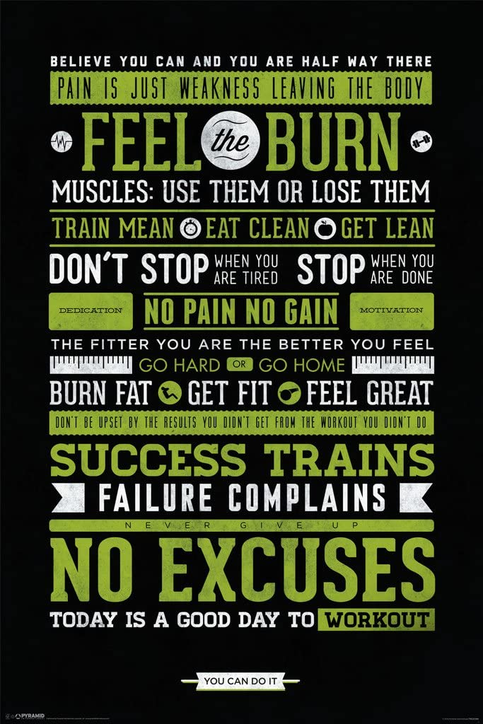 Workout Posters for Home Gym Feel The Burn Motivational Exercise Inspirational Cool Wall Decor Art Print Poster 12x18