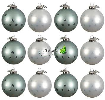 Christbaumkugeln Weiß 8cm.Kae 12 Weihnachtskugeln Glas 8cm Mintgrün Weiß Christbaumkugeln