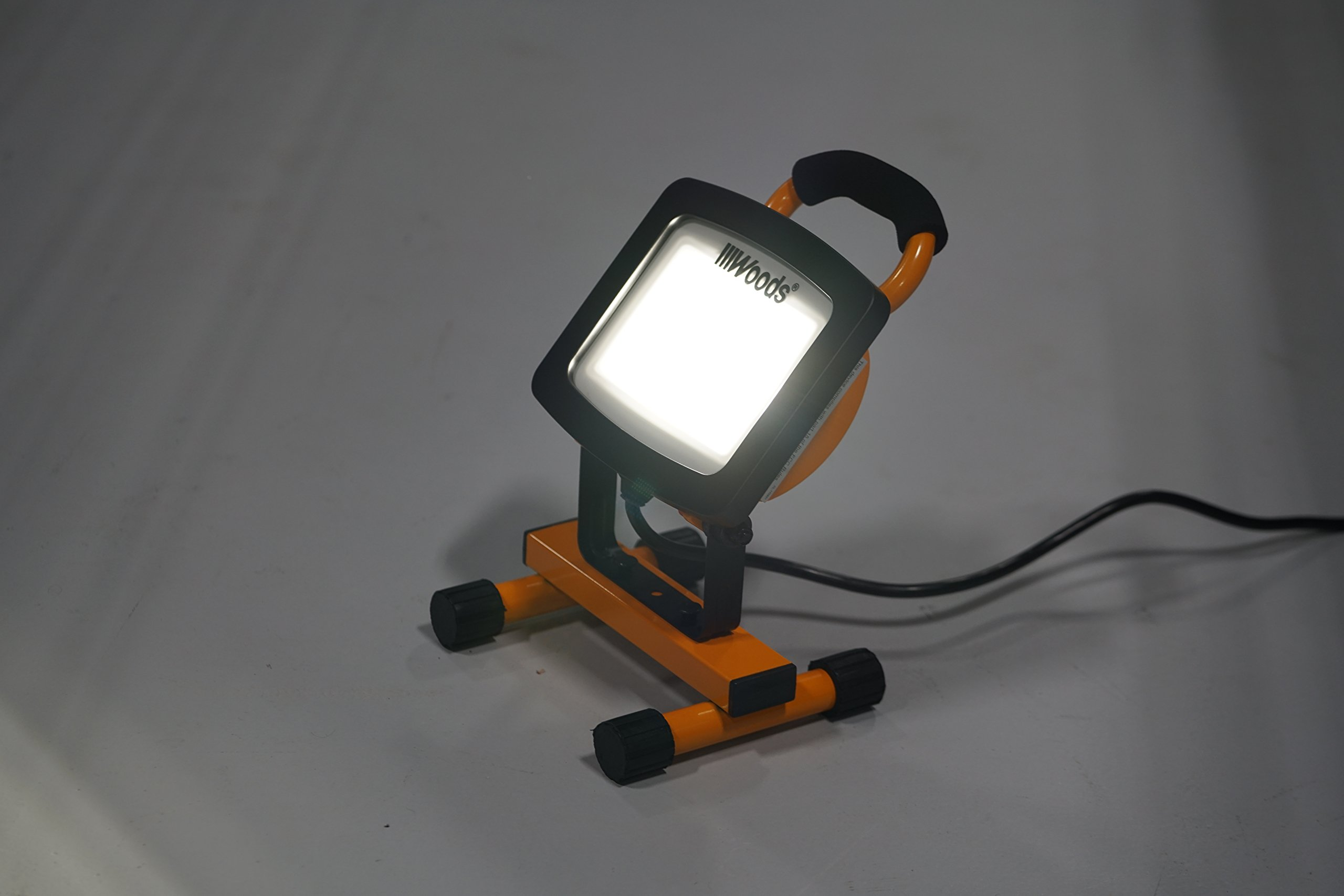 Woods WL40024 Portable LED Work Light with Steel H, H-Stand, Orange/Black