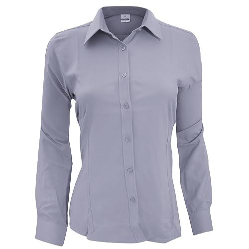 Henbury Camisa de Trabajo de Manga Larga Transpirable antibacterias para Mujer