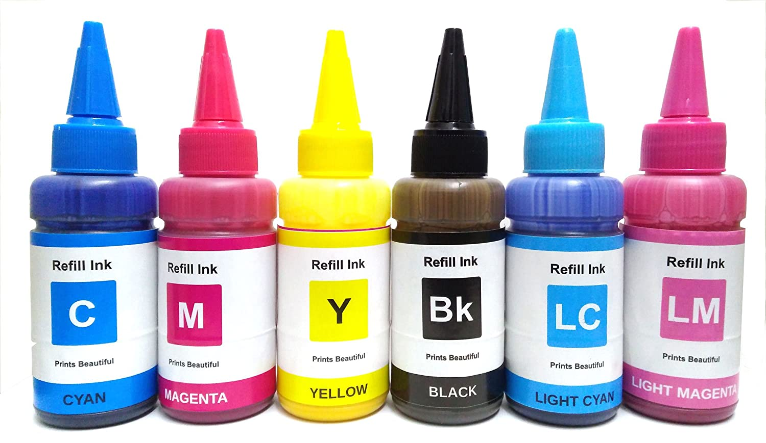 WHITE SKY Sublimation Ink for Epson Color Printers for T-Shirt Printing,  Mug Printing, Clothes, Plate, Mobile Cover Printings 6 x 75 ml (CMYK, LC,  LM)