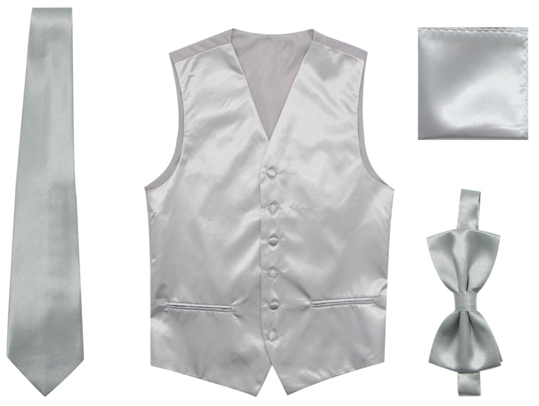 JAIFEI Satin Men Wedding Vest – Set Neck Tie, Bow Tie & Handkerchief (M(Chest 39), Sliver)