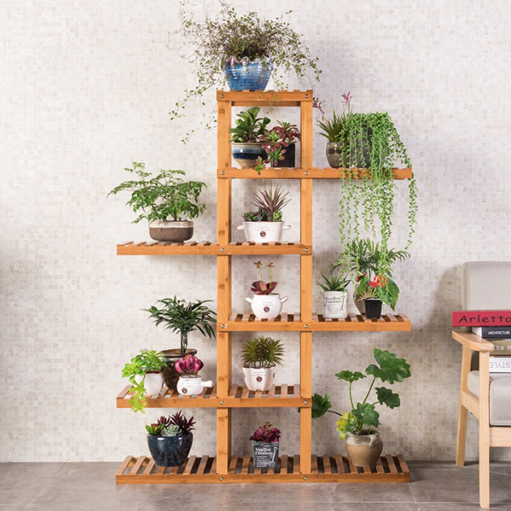MILUCE Rack per fiori in bambù, Rack per vaso da fiori in legno massello multistrato, Stand per vetrine per pavimenti in acciaio, Rack per l'immagazzinamento multifunzionale
